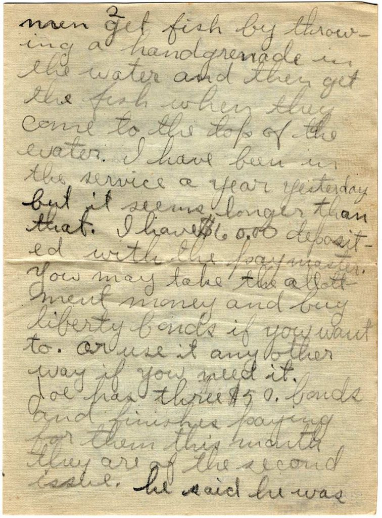 World War One (WWI) Letter by Robert E. Schalles, July 11, 1918, Page 2