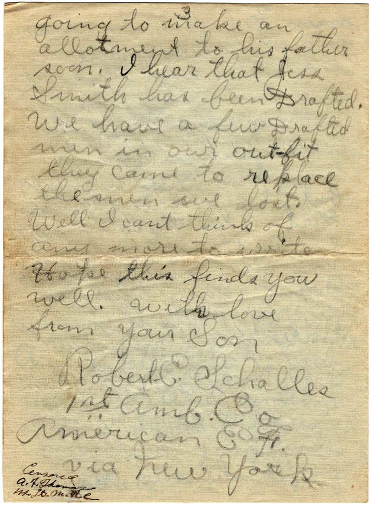 World War One (WWI) Letter by Robert E. Schalles, July 11, 1918, Page 3