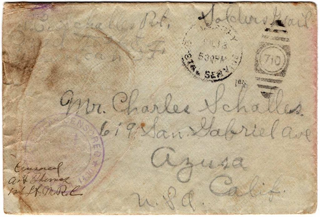 World War One (WWI) Envelope, The Worse for It, July 11, 1918