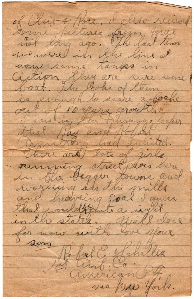 World War One (WWI) Letter by Robert E. Schalles, August 10, 1918, Page 2