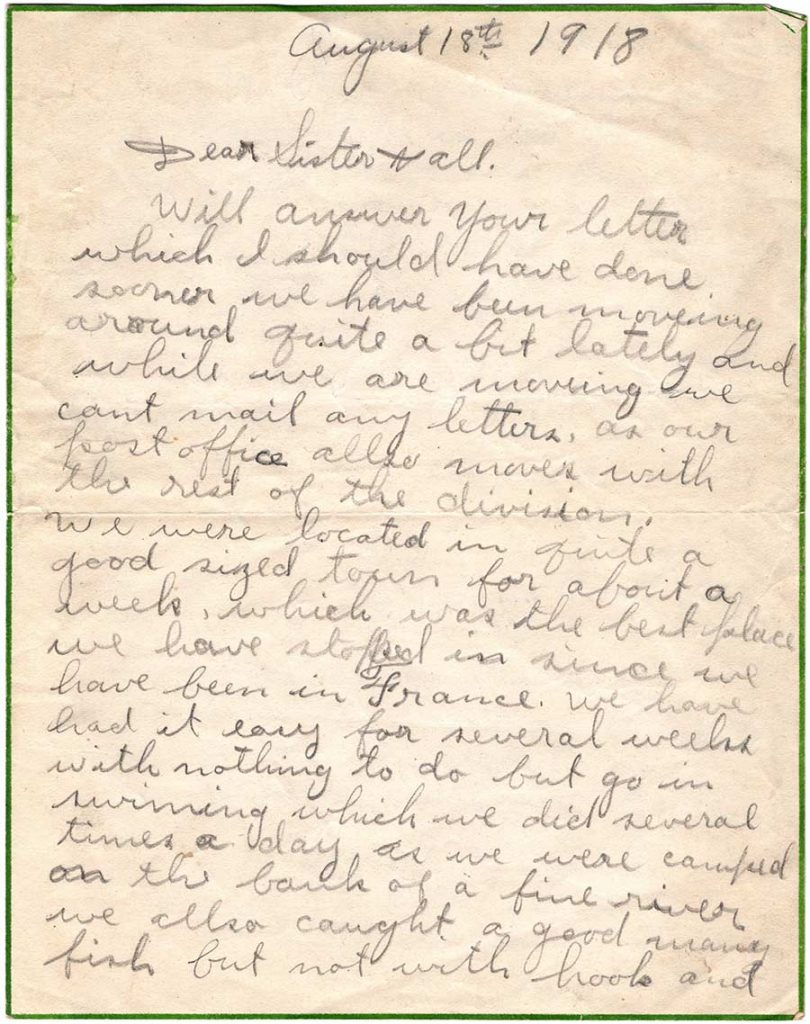 World War One (WWI) Letter by Robert E. Schalles, August 18, 1918, Page 1