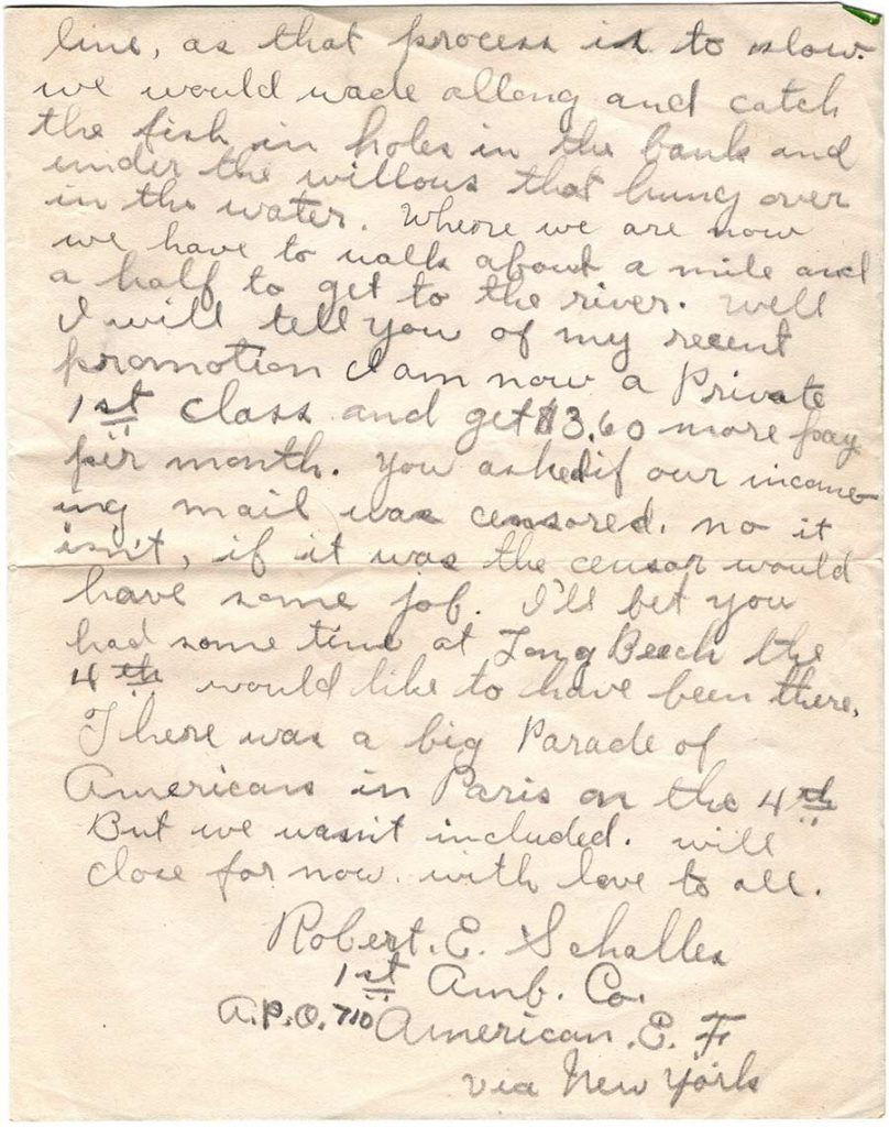 World War One (WWI) Letter by Robert E. Schalles, August 18, 1918, Page 2