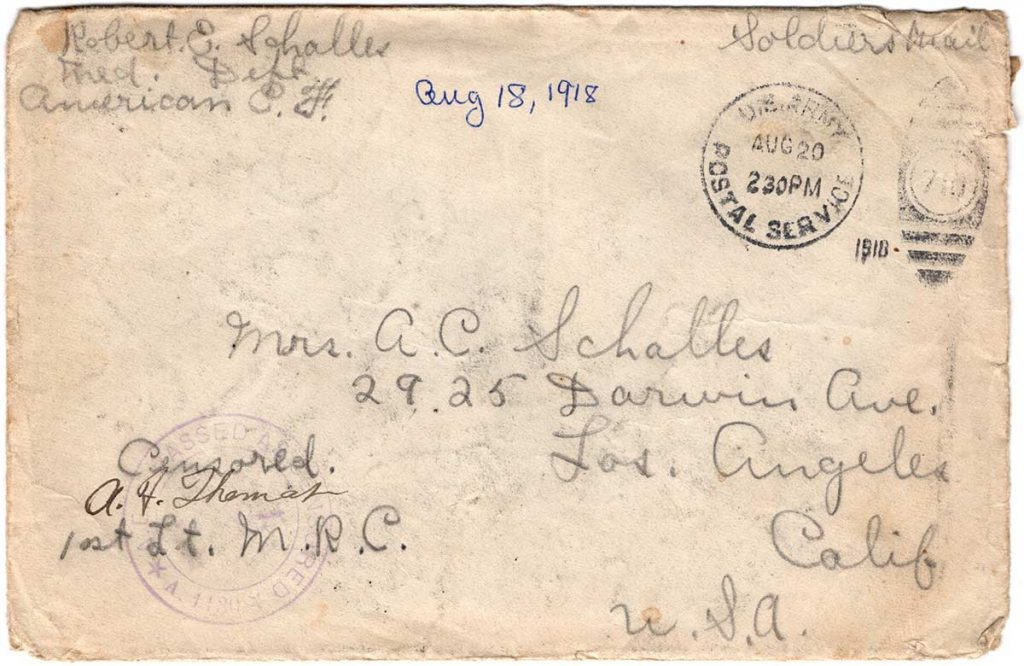 World War One (WWI) Envelope, The Worse for It, August 18, 1918, Front