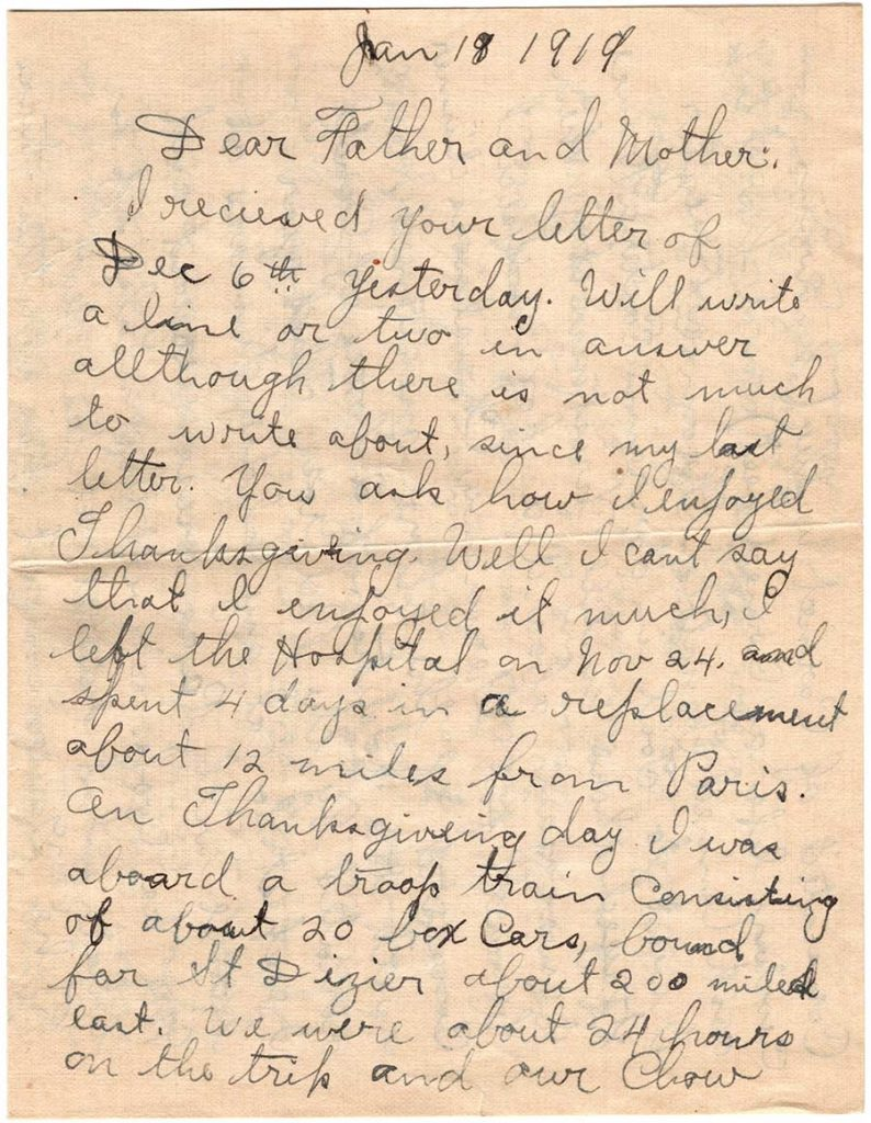 World War One (WWI) Letter by Robert E. Schalles, January 18, 1919, Page 1