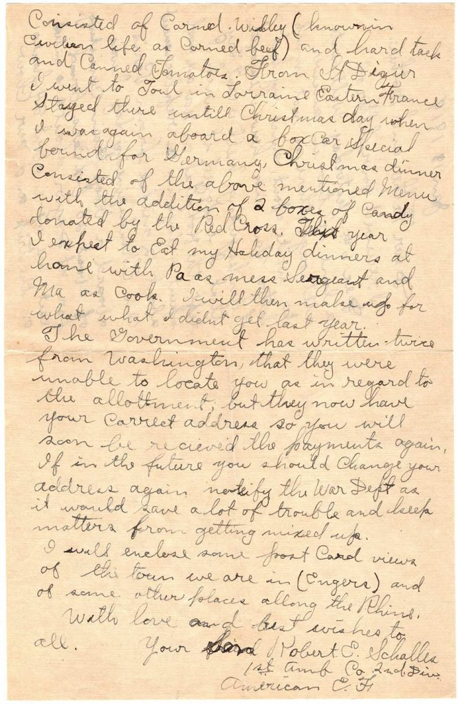 World War One (WWI) Letter by Robert E. Schalles, January 18, 1919, Page 2