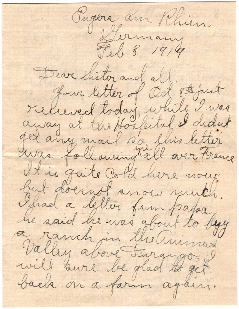 World War One (WWI) Letter by Robert E. Schalles, February 8, 1919, Page 1