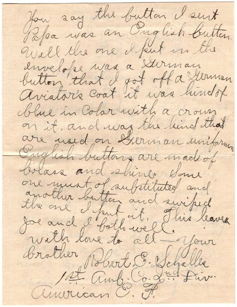 World War One (WWI) Letter by Robert E. Schalles, February 8, 1919, Page 2