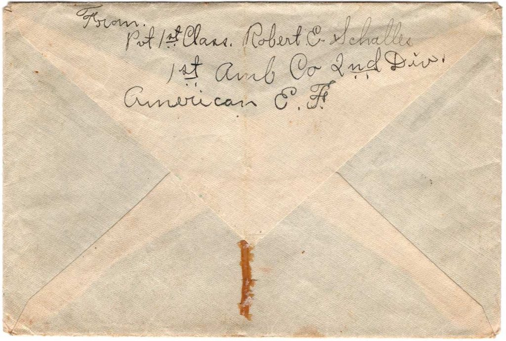 World War One (WWI) Envelope, The Worse for It, February 8, 1919 - The Back