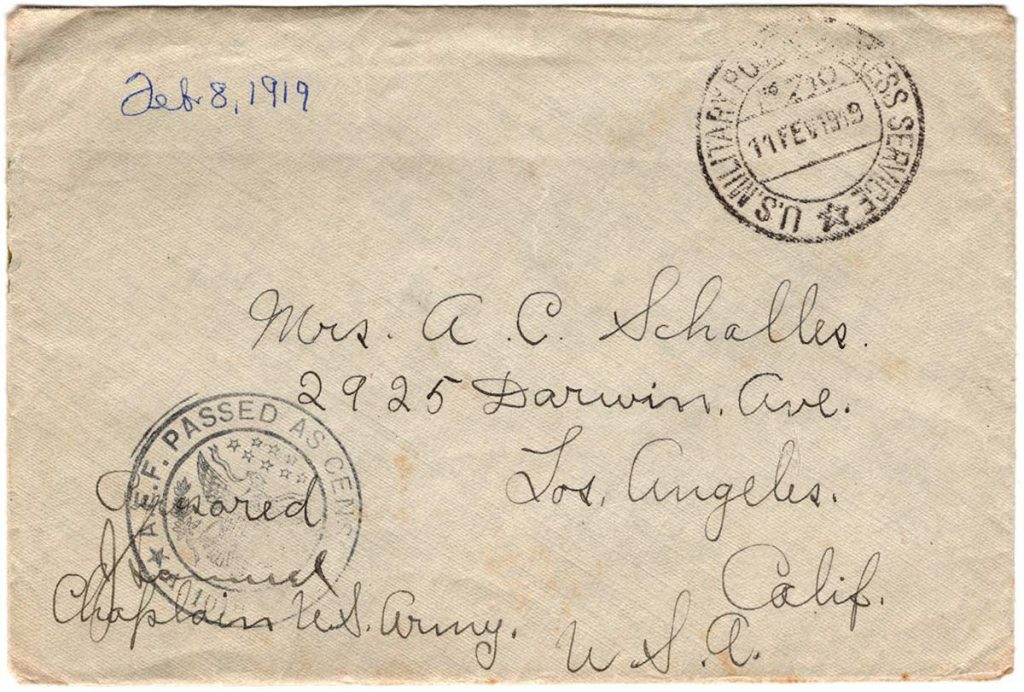 World War One (WWI) Envelope, The Worse for It, February 8, 1919 - The Front