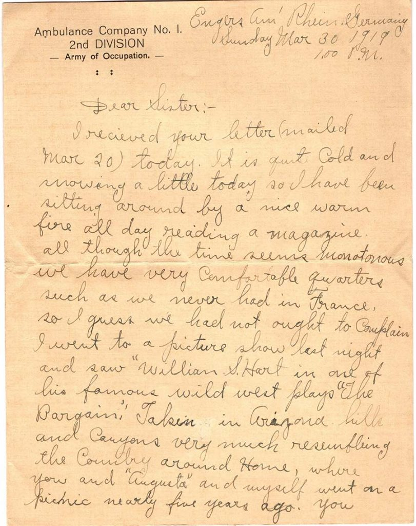 World War One (WWI) Letter by Robert E. Schalles, March 30, 1919, Page 1