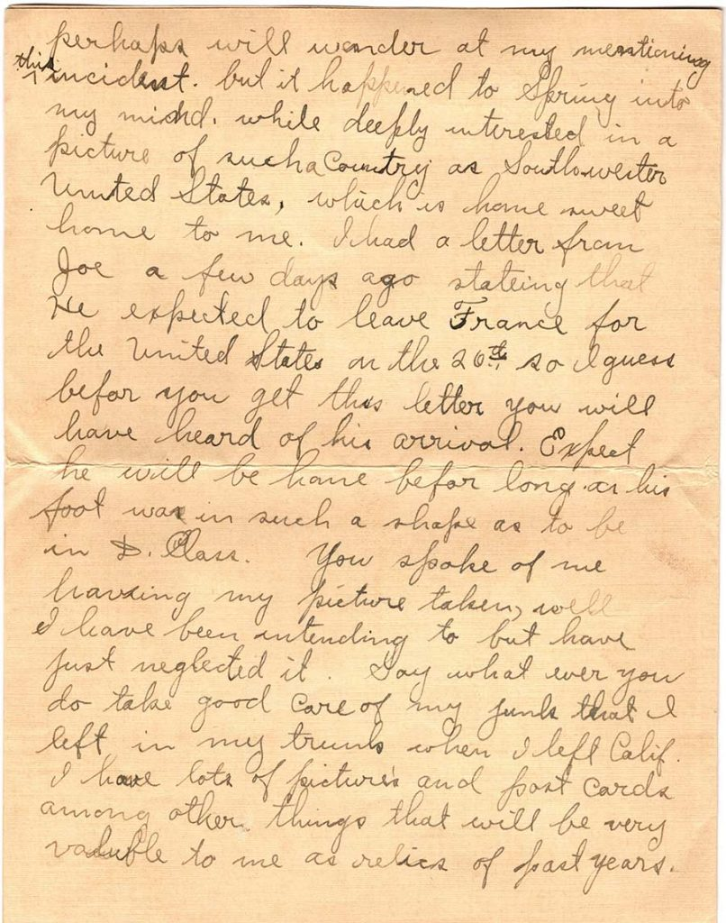 World War One (WWI) Letter by Robert E. Schalles, March 30, 1919, Page 2