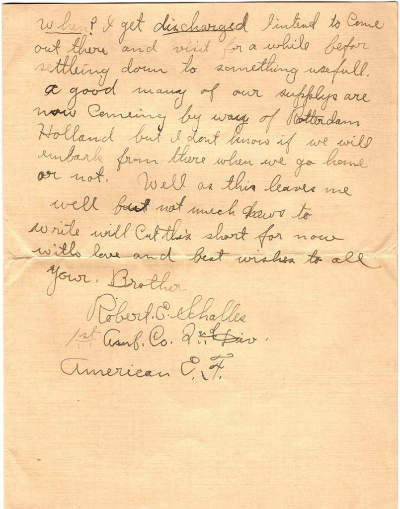 World War One (WWI) Letter by Robert E. Schalles, March 30, 1919, Page 3