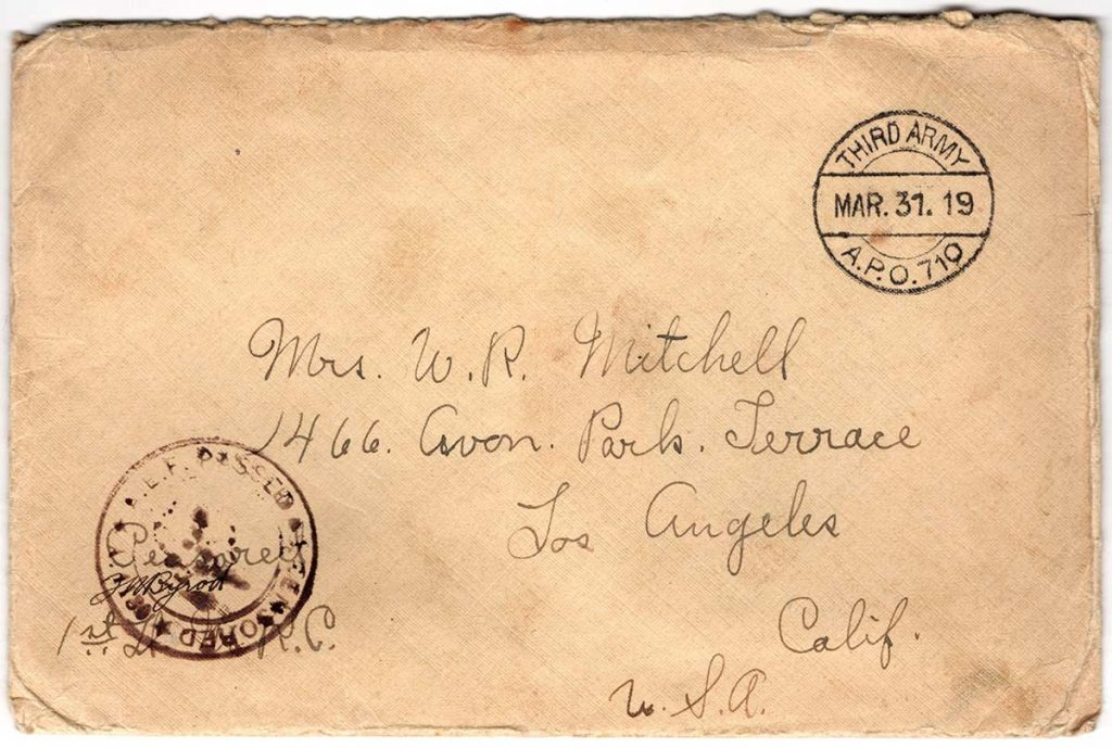 World War One (WWI) Envelope, The Worse for It, March 30, 1919, The Front