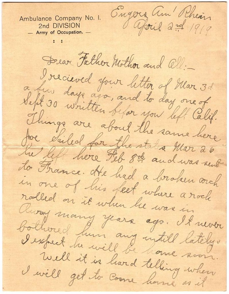 World War One (WWI) Letter by Robert E. Schalles, April 2, 1919 - Page 1