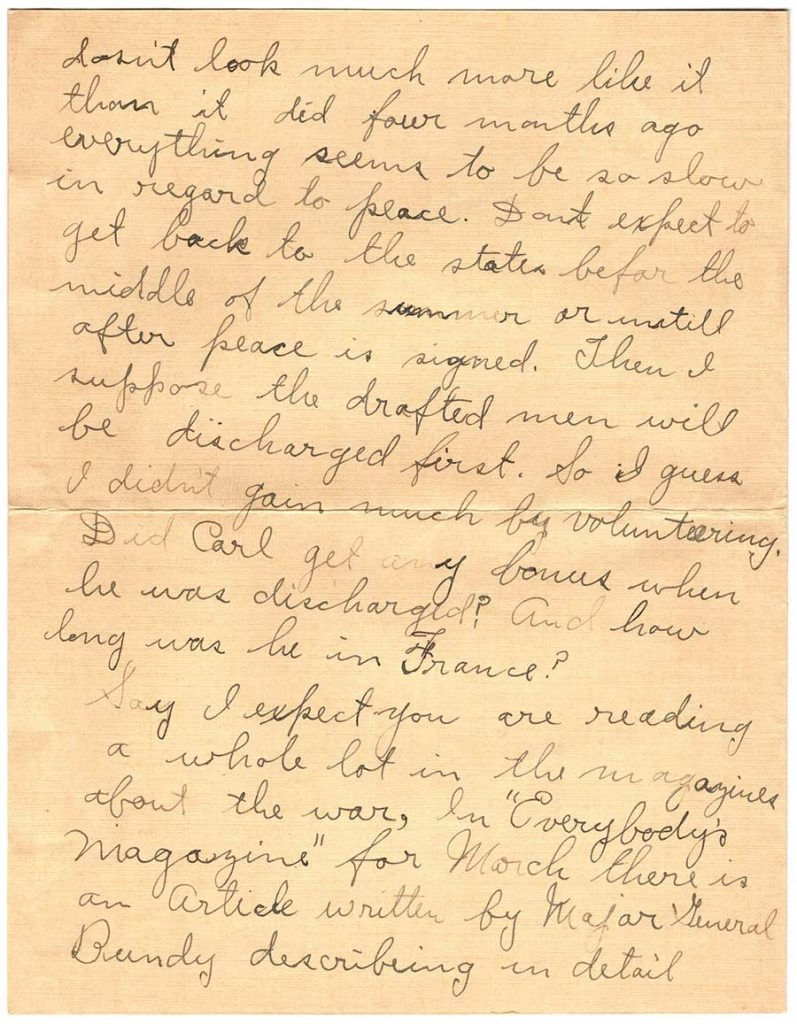 World War One (WWI) Letter by Robert E. Schalles, April 2, 1919 - Page 2