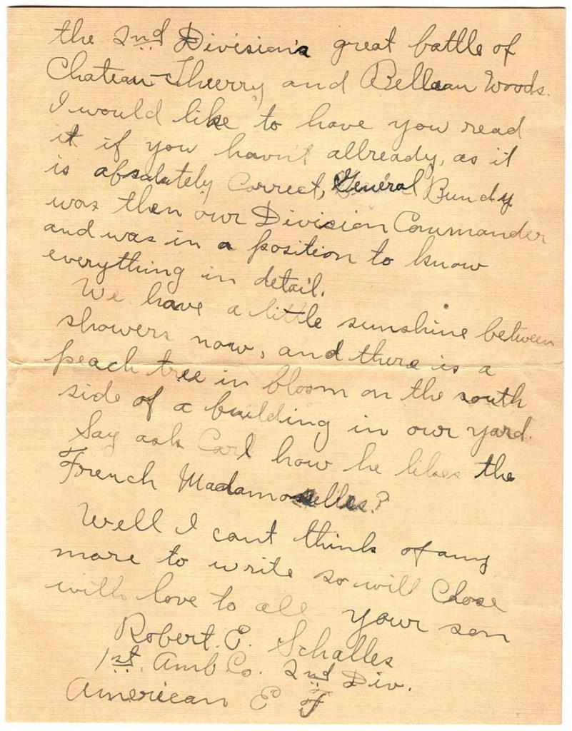 World War One (WWI) Letter by Robert E. Schalles, April 2, 1919 - Page 3