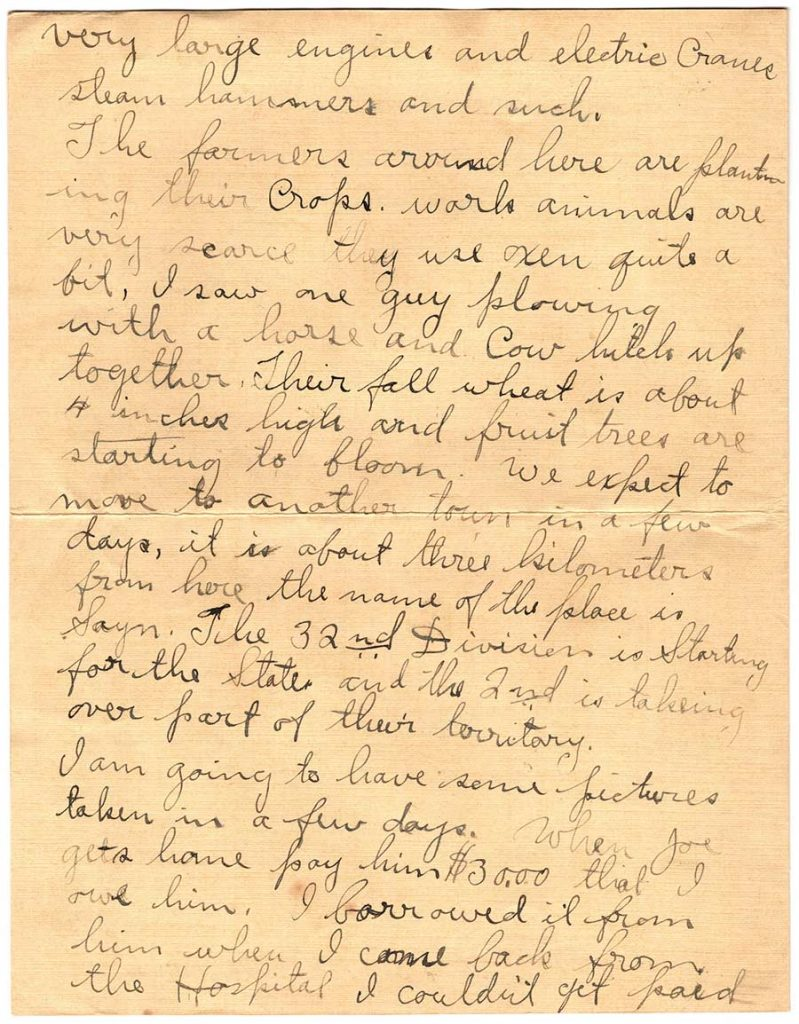 World War One (WWI) Letter by Robert E. Schalles, April 15, 1919, Page 2