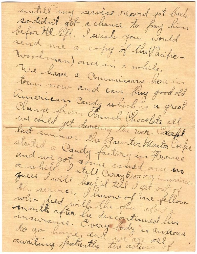 World War One (WWI) Letter by Robert E. Schalles, April 15, 1919, Page 3
