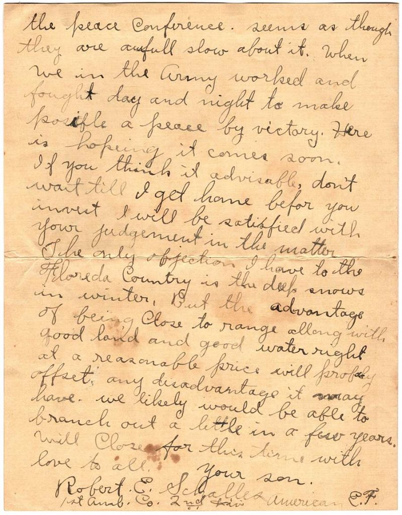 World War One (WWI) Letter by Robert E. Schalles, April 15, 1919, Page 4