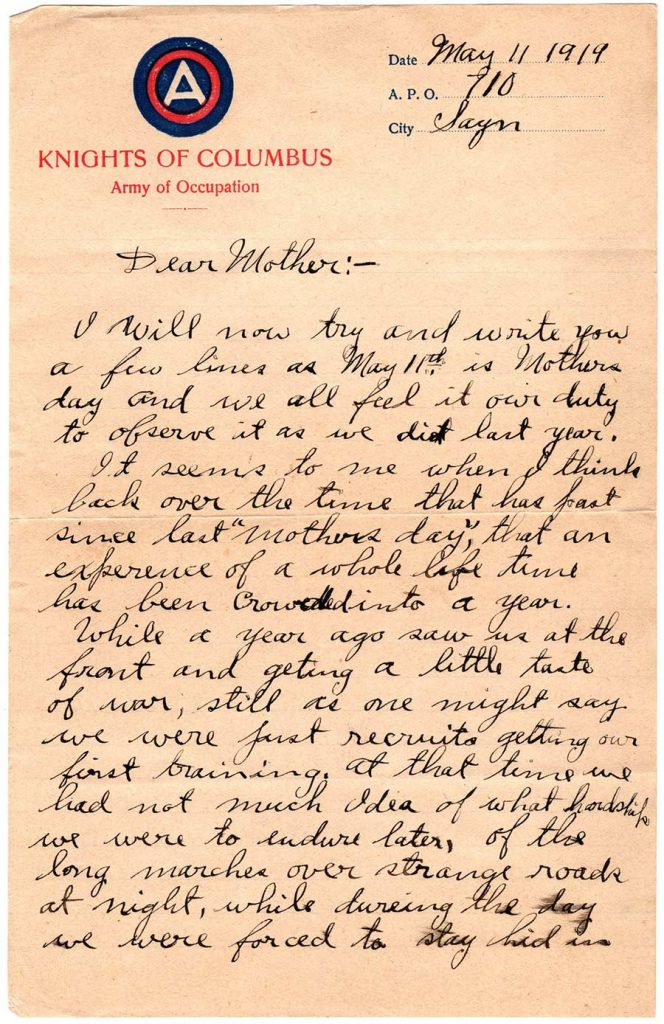 World War One (WWI) Letter by Robert E. Schalles, May 11, 1919, Mother's Day - Page 1