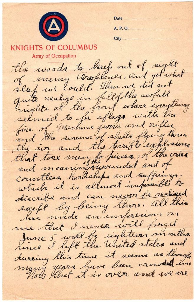 World War One (WWI) Letter by Robert E. Schalles, May 11, 1919, Mother's Day - Page 2