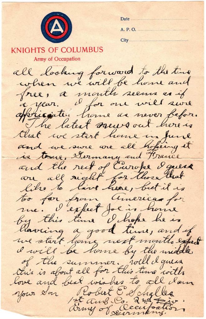 World War One (WWI) Letter by Robert E. Schalles, May 11, 1919, Mother's Day - Page 3