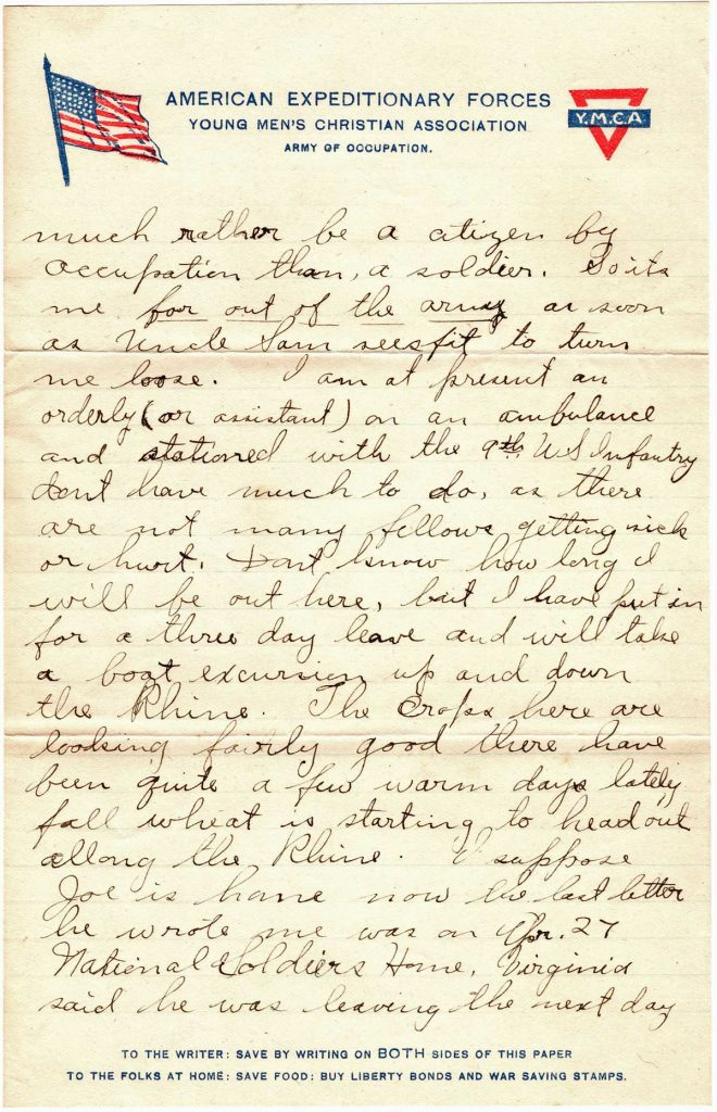 World War One (WWI) Letter by Robert E. Schalles, May 18, 1919 to Father and Mother, Page 2