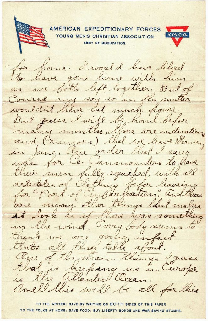 World War One (WWI) Letter by Robert E. Schalles, May 18, 1919 to Father and Mother, Page 3
