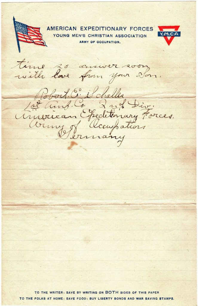 World War One (WWI) Letter by Robert E. Schalles, May 18, 1919 to Father and Mother, Page 4
