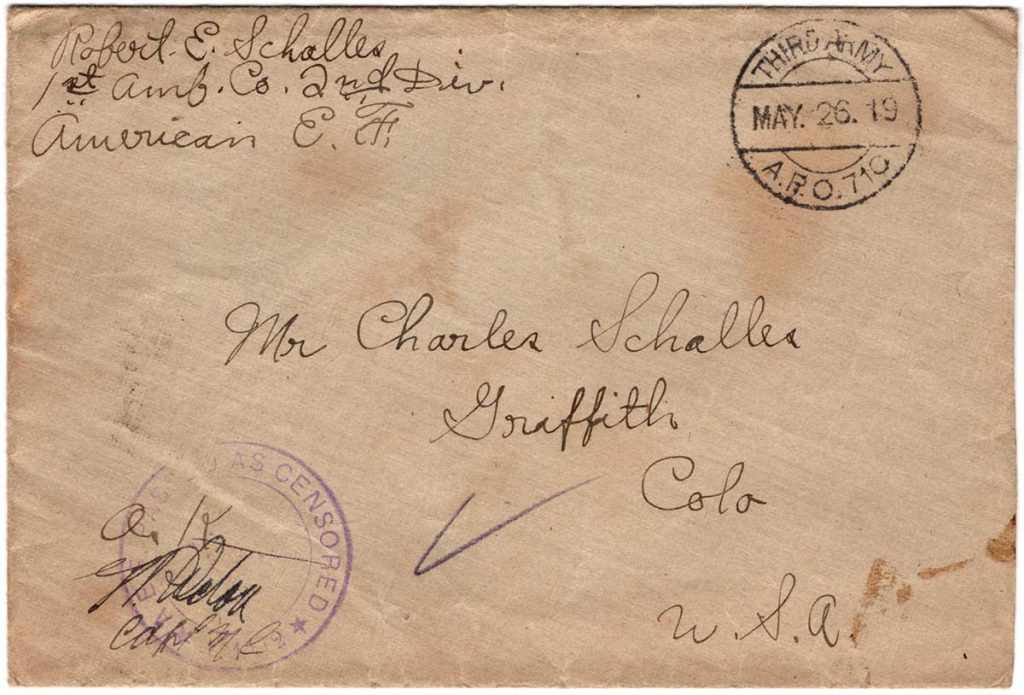 World War One (WWI) Envelope, The Worse for It, May 18, 1919 to Father and Mother