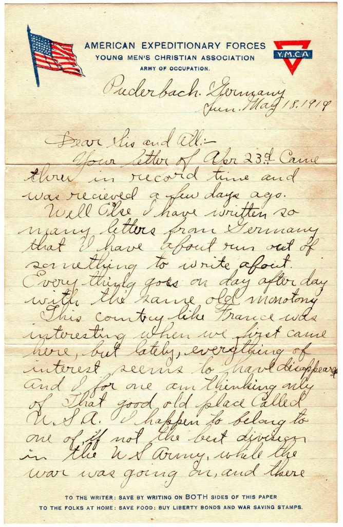 World War One (WWI) Letter by Robert E. Schalles, May 18, 1919, Page 1