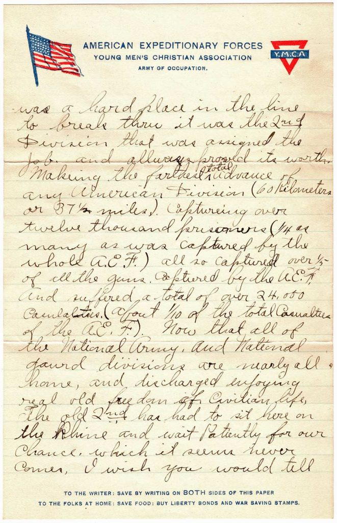 World War One (WWI) Letter by Robert E. Schalles, May 18, 1919, Page 2