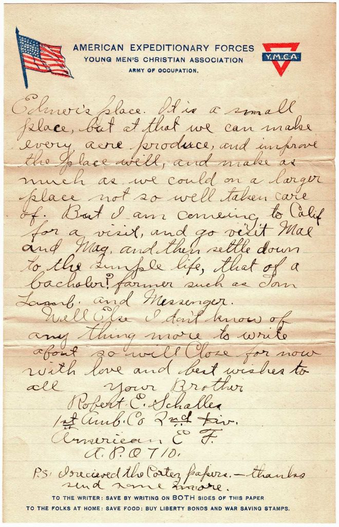 World War One (WWI) Letter by Robert E. Schalles, May 18, 1919, Page 4