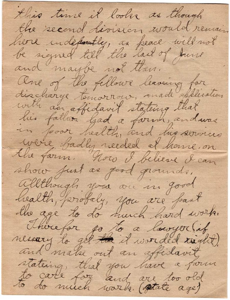 World War One (WWI) Letter by Robert E. Schalles, May 23, 1919, Page 2
