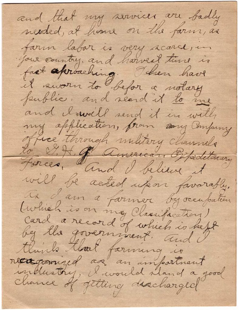 World War One (WWI) Letter by Robert E. Schalles, May 23, 1919, Page 3