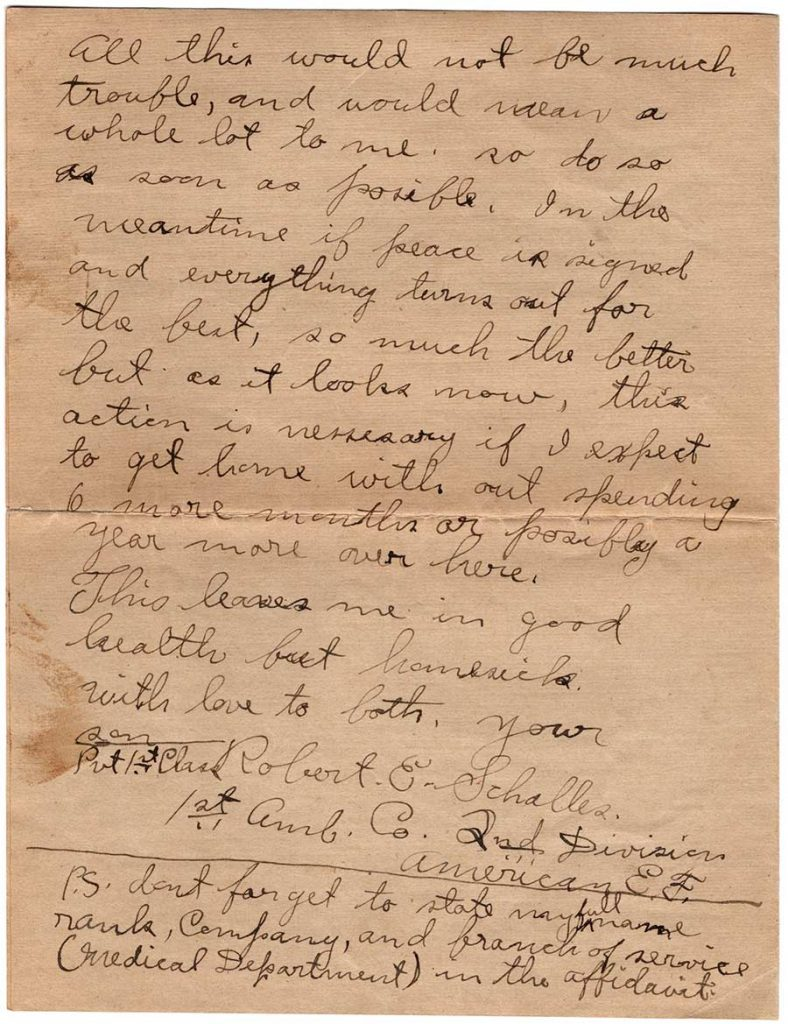 World War One (WWI) Letter by Robert E. Schalles, May 23, 1919, Page 4