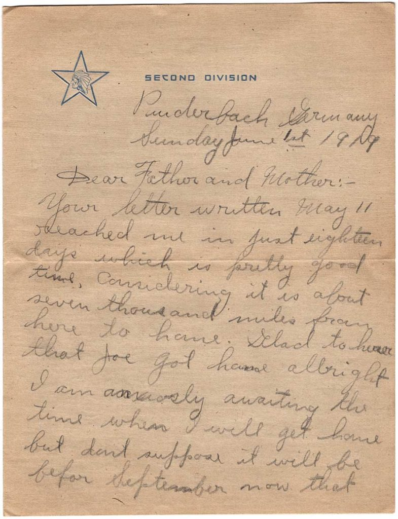 World War One (WWI) Letter by Robert E. Schalles, June 1, 1919, Page 1