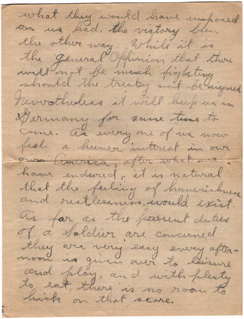 World War One (WWI) Letter by Robert E. Schalles, June 1, 1919, Page 2