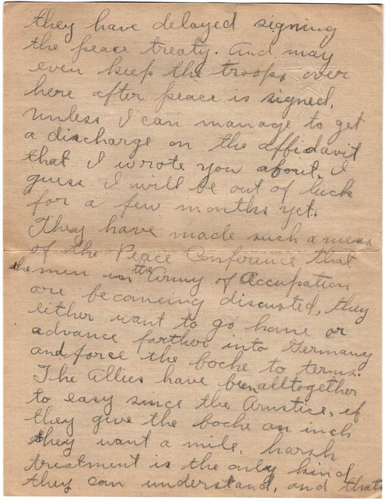 World War One (WWI) Letter by Robert E. Schalles, June 1, 1919, Page 3