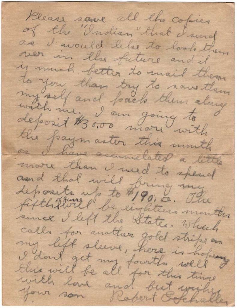 World War One (WWI) Letter by Robert E. Schalles, June 1, 1919, Page 4