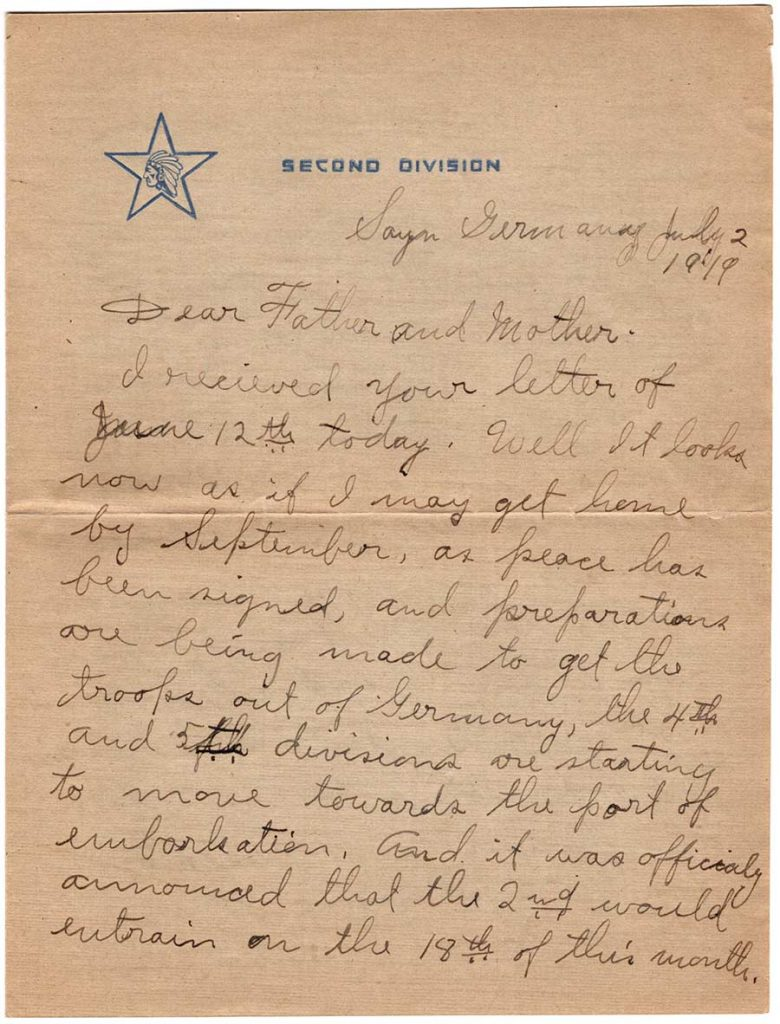 World War One (WWI) Letter by Robert E. Schalles, July 2, 1919, Page 1