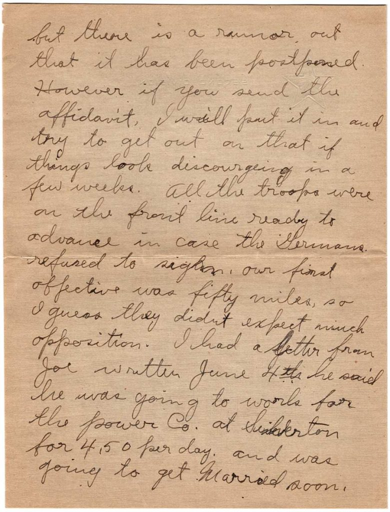 World War One (WWI) Letter by Robert E. Schalles, July 2, 1919, Page 2
