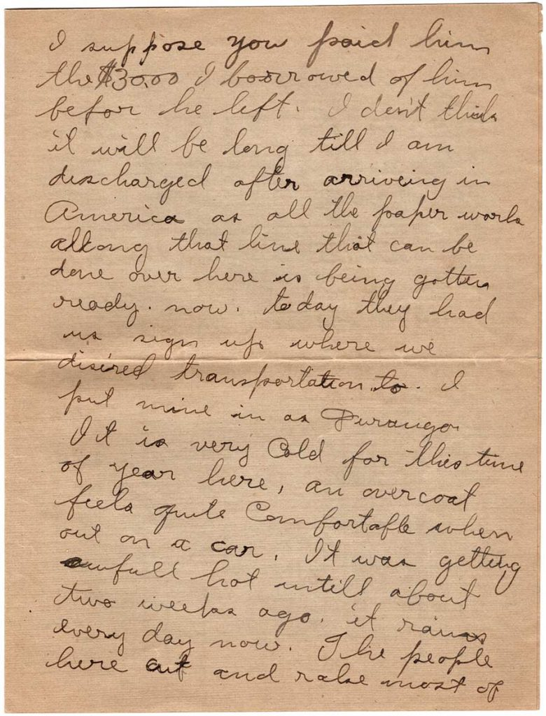 World War One (WWI) Letter by Robert E. Schalles, July 2, 1919, Page 3