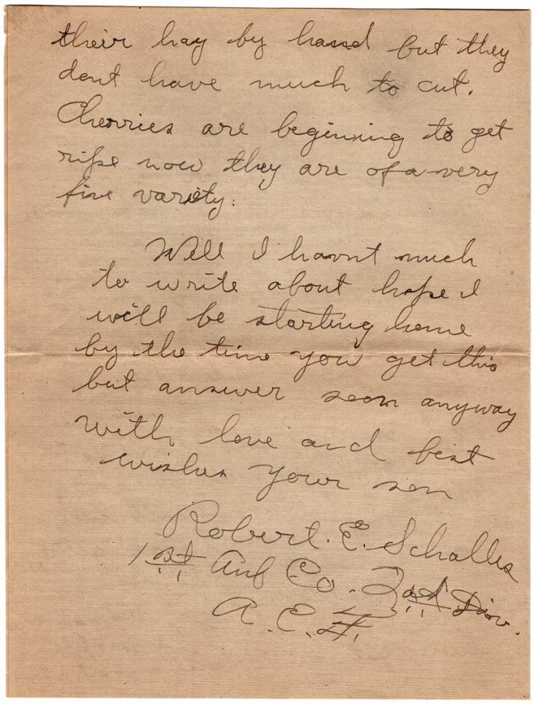 World War One (WWI) Letter by Robert E. Schalles, July 2, 1919, Page 4