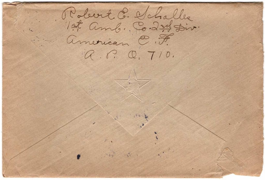 World War One (WWI) Envelope, The Worse for It, July 2, 1919, back