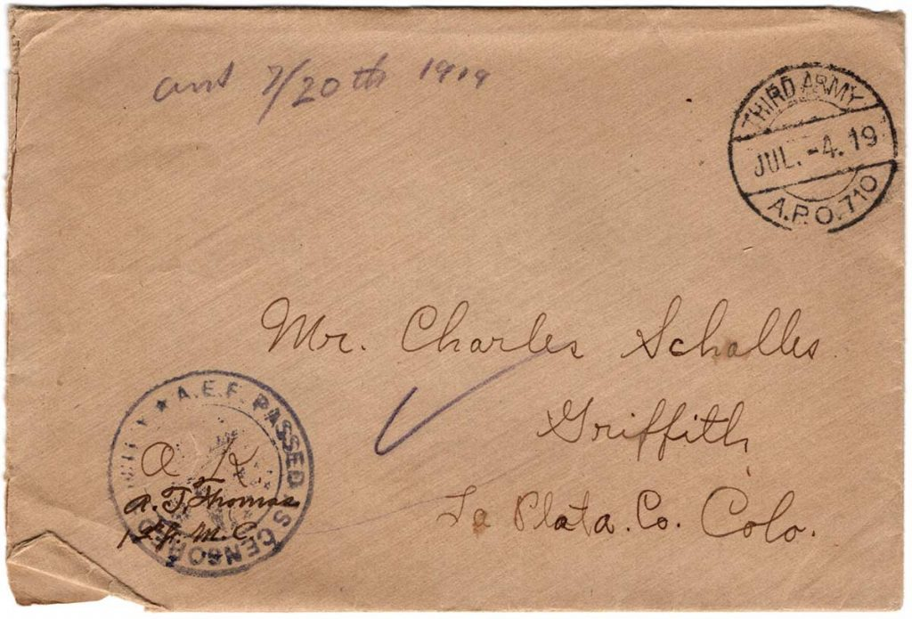 World War One (WWI) Envelope, The Worse for It, July 2, 1919, front