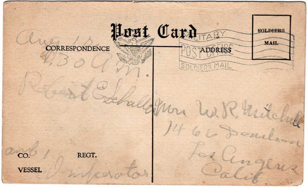 World War One (WWI) arrival home postcard from Robert E. Schalles, August 10, 1919. Back