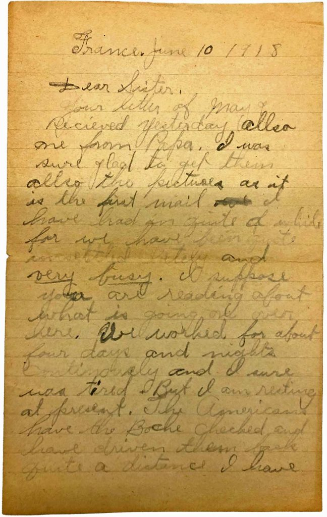 World War One (WWI) Letter by Robert E. Schalles, June 10, 1918, page 1
