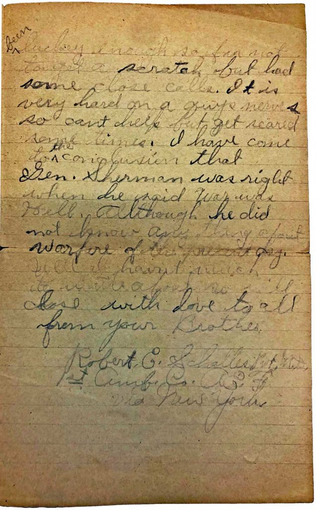 World War One (WWI) Letter by Robert E. Schalles, June 10, 1918, page 2
