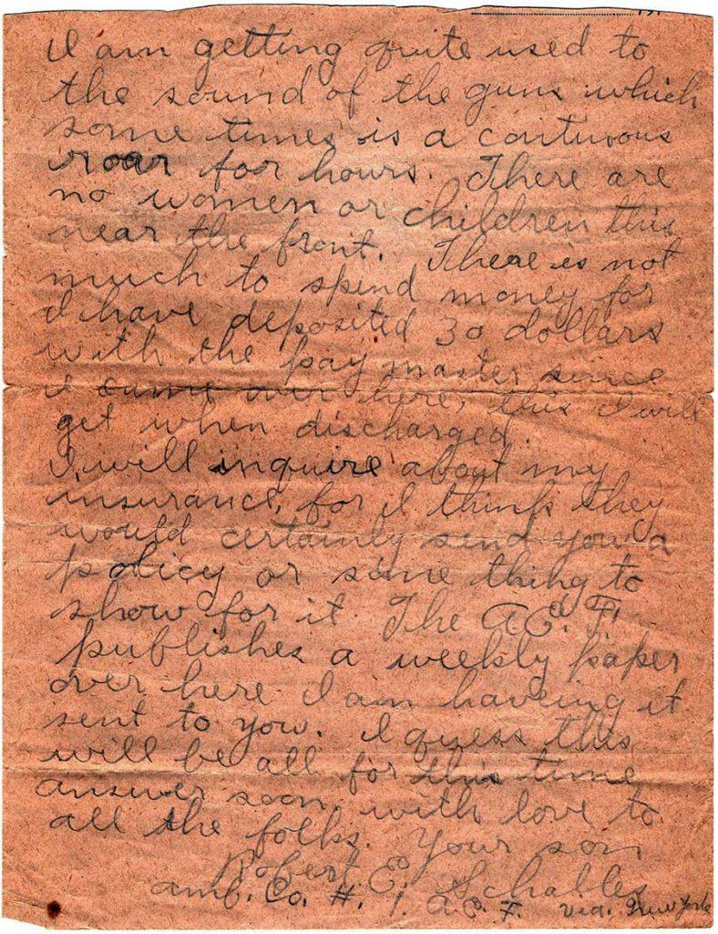 World War One (WWI) Letter of Robert E. Schalles, April 12, 1918